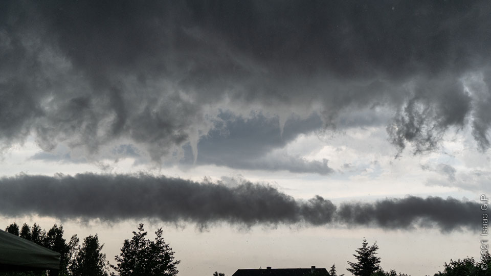 Funnel clouds over the Baltic during a storm in summer